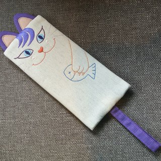 Cat catch fish - smile purple cat - pencil case