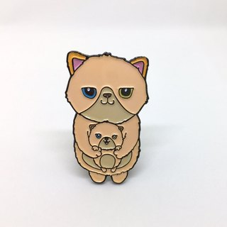 Mummy and Baby Cat Pin / Brooch