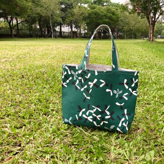 Dark green flower small tote bag small meal bag