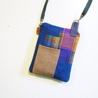 E*group square patchwork small bag dark blue tannin color mobile phone bag passport package