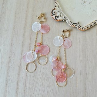 Cream and pink shell Earrings