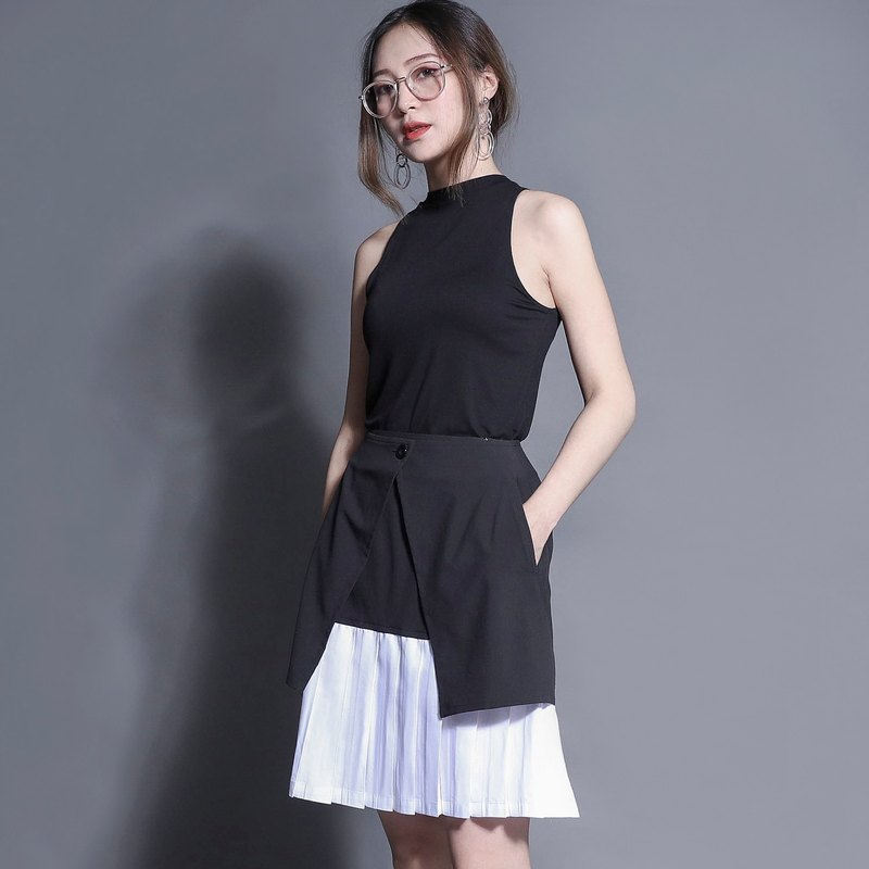 Floating floating double-layer pleated skirt_7SF156_Black/White