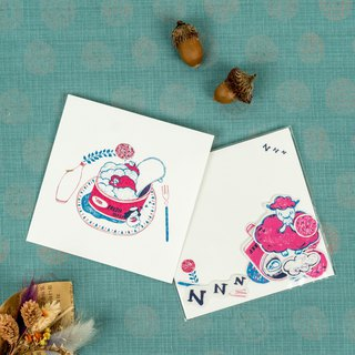 I wish you good sheep illustration postcards / stickers package