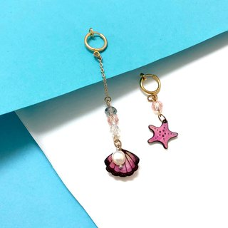 | Leather Gadgets | Fantasy Ocean Series | Pink Starfish Shell Pearl Earrings Ear Clips |