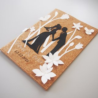 Cork Wedding Certificate Folder (White Flowers Background)