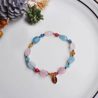 <Slow and warm natural stone series>C1176 Pink Crystal Aquamarine bracelet