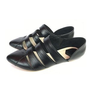 The Deep/ Pannychia - Black Leather Handmade sandals