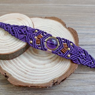Misssheep-H11 Purple South American Waxed Brass Bead Amethyst Bracelet