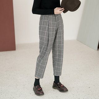 Gray purple plaid super genuine retro wool plaid radish pants tapered wool wool material trousers