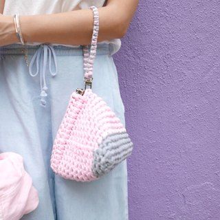 Duo Color Triangle Handbag, crochet, knit, handmade (Light Grey / Pink)