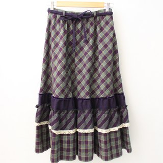 Vintage European Pastoral Style Cute Purple Plaid Wool Vintage Dress European Vintage Skirt
