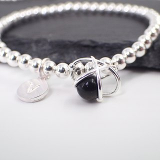 Initial Silver & Crystal in Planet Bracelet