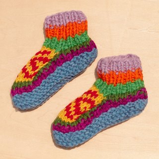Gift limit births a knitted pure wool warm socks / wool socks child / children wool socks / stockings bristles / Knitting wool socks / children's indoor Socks - colorful colors wind totem Eastern Europe