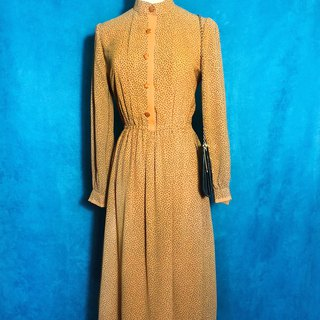Ming Huang Totem Chiffon Long Sleeve Vintage Dress / Foreign Return to VINTAGE