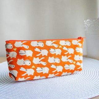 Lovely smile hippo square pencil case, tool bag, orange