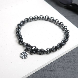 Classic thick circle bracelet retro black 925 sterling silver men's bracelet