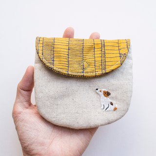 小狗 Dog Embroidered Linen Wee Pouch