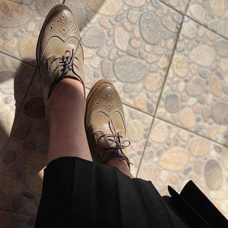 可可里諾 牛津小踝鞋 中根牛津鞋 軍綠
