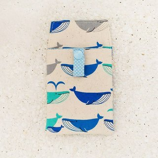 Whale spray pocket pencil bag