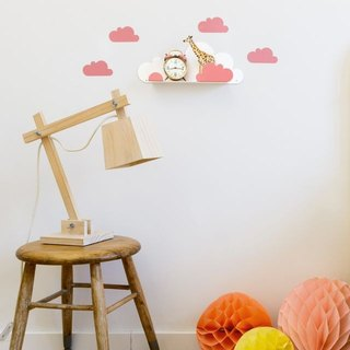 Clouds modeling shelf + wall stickers (red)