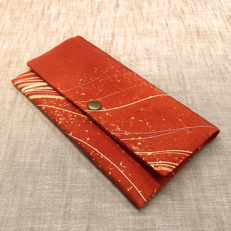 ❖ hand-made Japanese-style purse handmade limited customization - lancifolium orange Japanese raw silk long clip wallet ❖