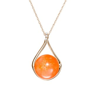 Sunstone Necklace with Diamond, 14k Solid Gold Tangerine Orange Gemstone Pendant