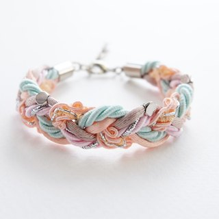 Peach mint braided bracelet