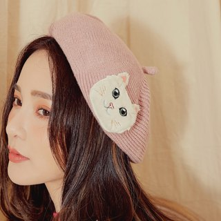 MIT woven cat embroidered beret (R6613F)