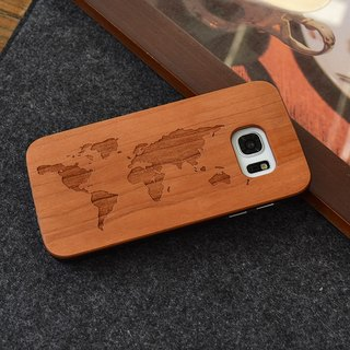 Customized World Map Personalized laser engraving Samsung S5 / S6 / S7 / S6 edge / S7 edge pure natural wood + green frosted plastic phone shell