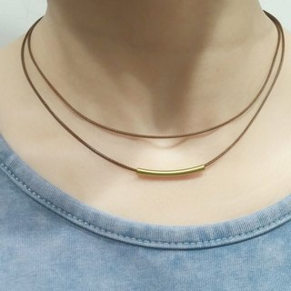 Wax line necklace brass tube double circle plain simple wax rope thin line