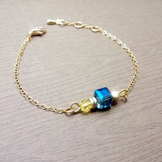 HY hand made x bracelet brass crystal glass thin chain bracelet