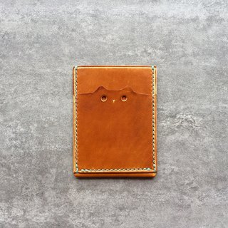 Handmade light brown leather pass case / cute cat leather card case / Personalized card case