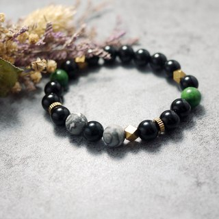 Natural Stone Bracelet - Aurora - Aurora (Brass / Accessories / Black Onyx / Picasso / Personality mix)