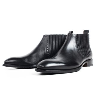 New Black Motorcycle Elastic Ankle Boots Men's Leather Calfskin Boots Patina Bespoke Boots