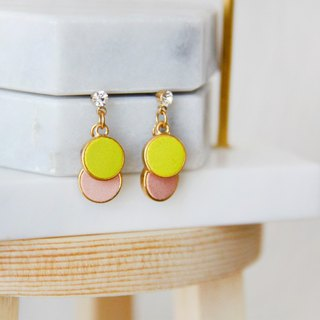 Color small round - pink yellow drop earrings earrings [can be changed ear clips]