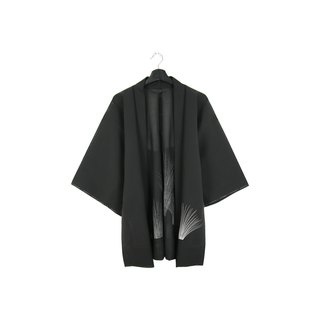 Back to Green-Japan brought back feather-woven translucent white mirabilis/vintage kimono