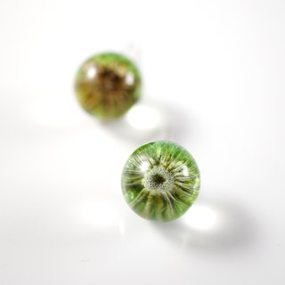 A Handmade earrings Shuijingjiao green inflorescences