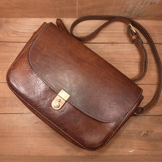 Old bone brown leather side backpack