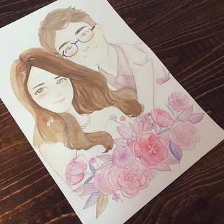 ◆ SS. Yan Feng Huaqiu ◆ A3 size double (delicate style) wedding custom watercolor hand-painted photo cartoon wedding portrait painting