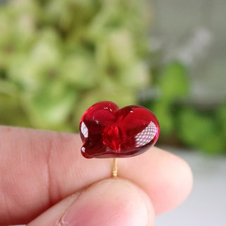 CUORE stud earrings - Ruby red