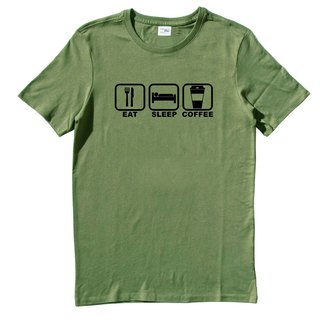 Eat Sleep Coffee Short Sleeve T-shirt Green Green English English Sleep coffee