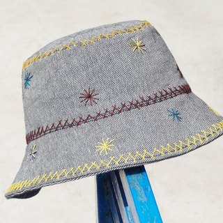 Limited handmade embroidery stitching handmade cotton hooded hat / fisherman hat / sun hat / patch cap / handmade cap - star hand embroidery fisherman hat