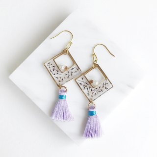 Real flower Pressed flower 18KGP earrings with tassel