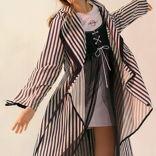 Blue and white striped large lapel light cotton trench coat