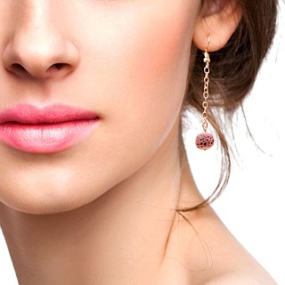Dangle Hook Piercing Diffuser Earrings with Pink Aroma Rock Lava Beads 1 Pair