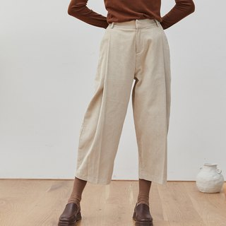 Chicken legs burned light khaki 2 color corduroy loose pleated nine points pants thin strips wide leg old pants