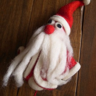 【Grooving the beats】Handmade Felt Hanging Christmas Ornament(Red Santa)