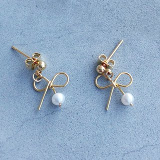 【Knot】Japan pearl natural 14K earrings