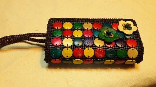 彩色扭扣 天然植物 小花大容量雙拉鍊包手拿包