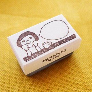 Hand made Stamp __ a girl in the cafe